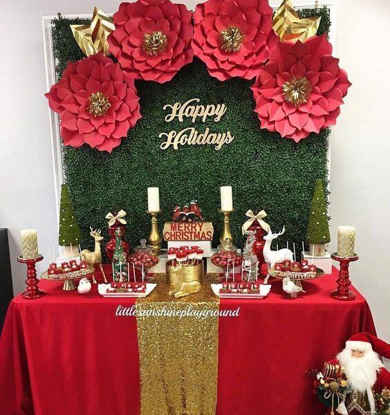 backdrops de navidad con flores de papel