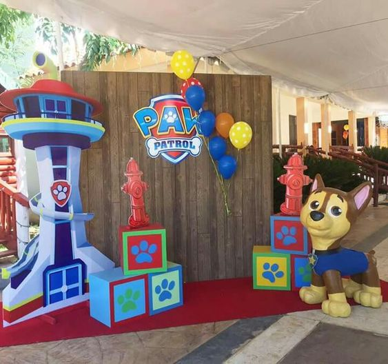 Backdrops para Fiestas de paw patrol para niño