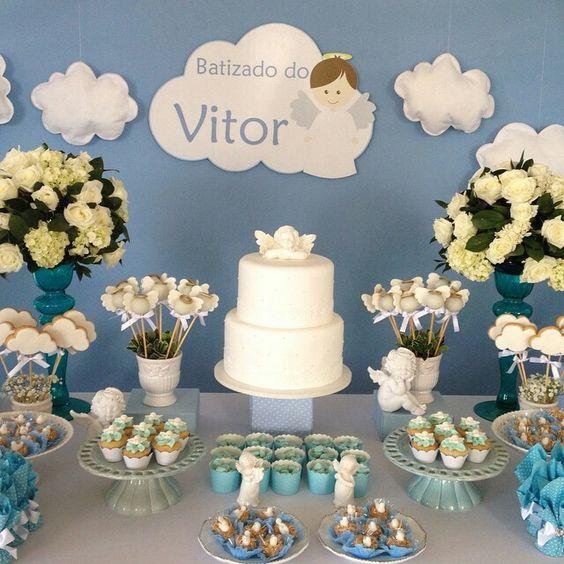 como adornar una mesa de dulces para bautizo