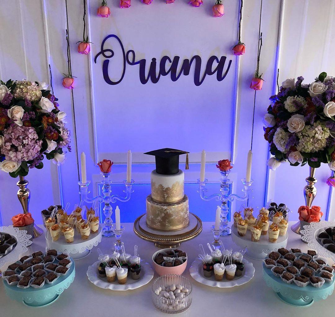 Como decorar mesa de dulces graduación