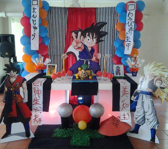 decoracion de cumpleaños tematica de Dragon ball z