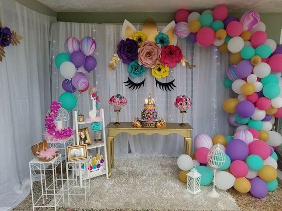 decoracion de fiesta de unicornio