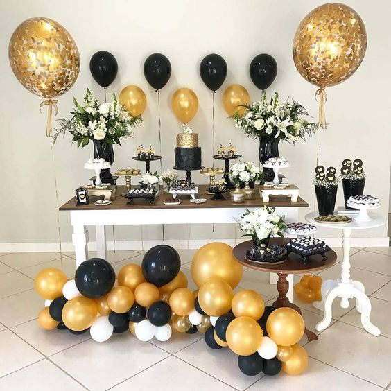 decoracion de fiestas negro y dorado
