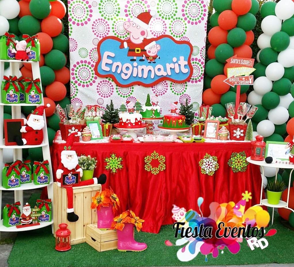 decoracion de mesa de postre fiesta de cumpleaños en navidad