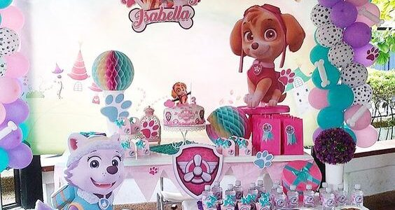 fiesta de paw patrol de niña