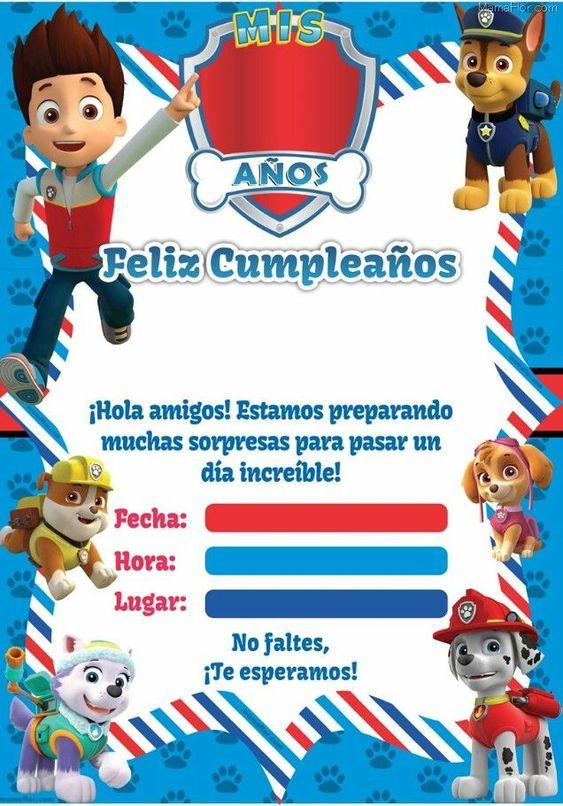 Invitaciones para fiesta de paw patrol de niño