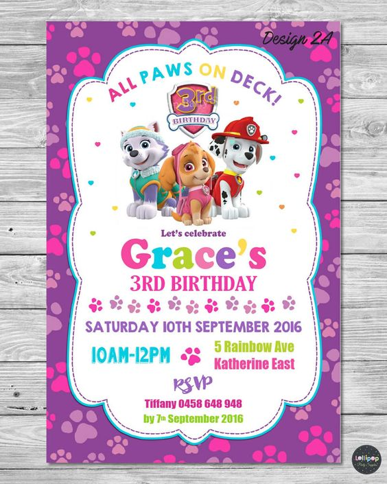 Invitaciones para Fiestas de paw patrol para niña