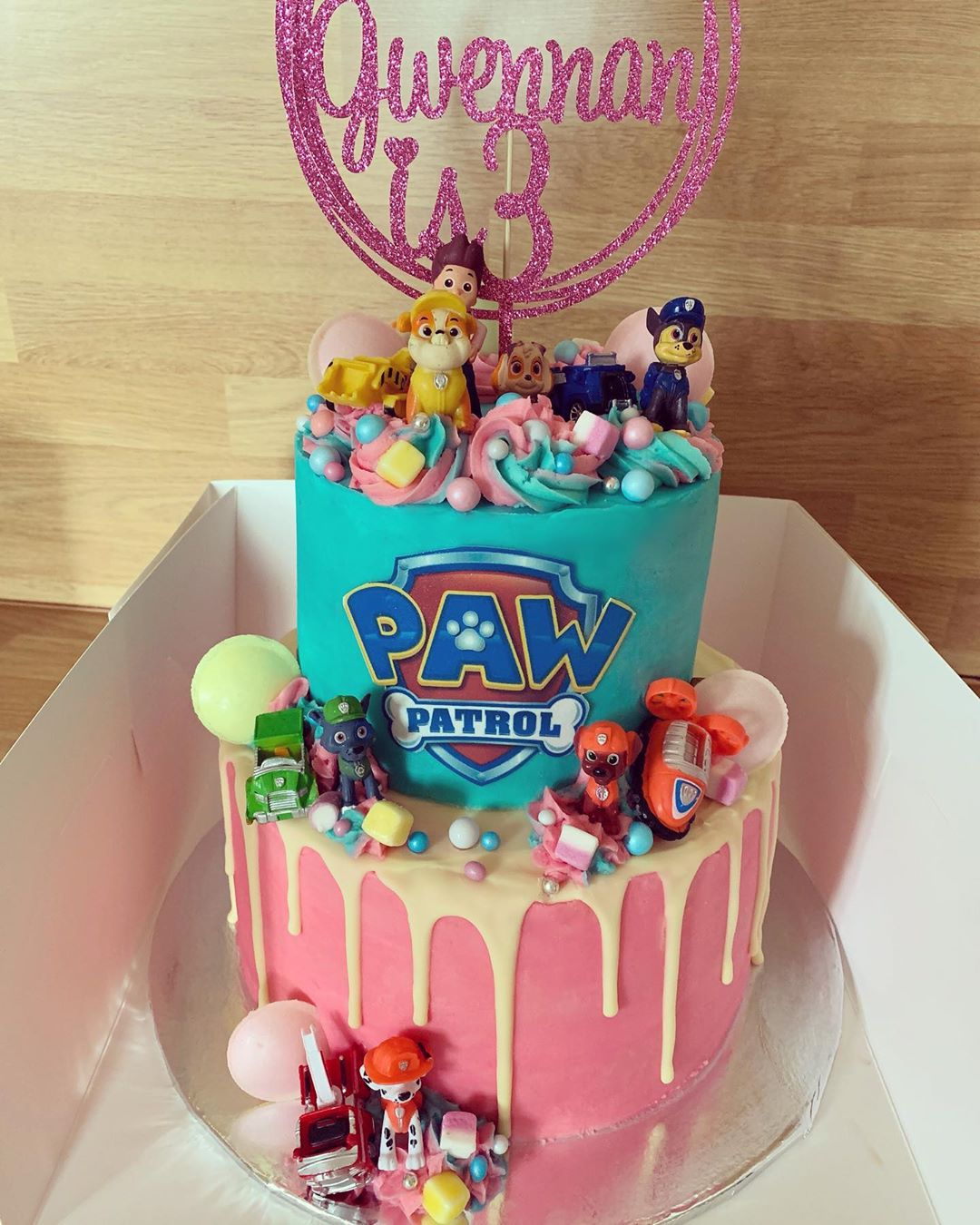 pastel fiesta de paw patrol para niña