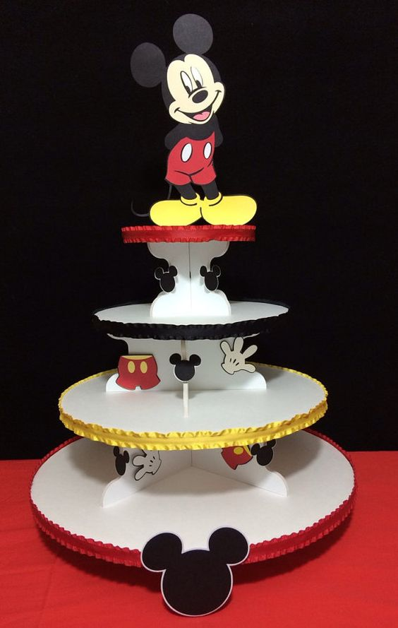 bases para cupcakes para fiesta de mickey mouse