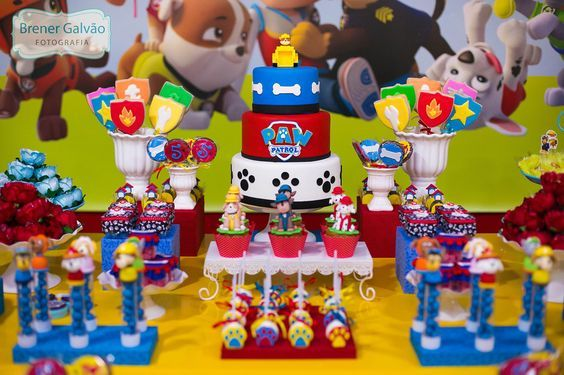 bases para cupcakes para fiesta de paw patrol