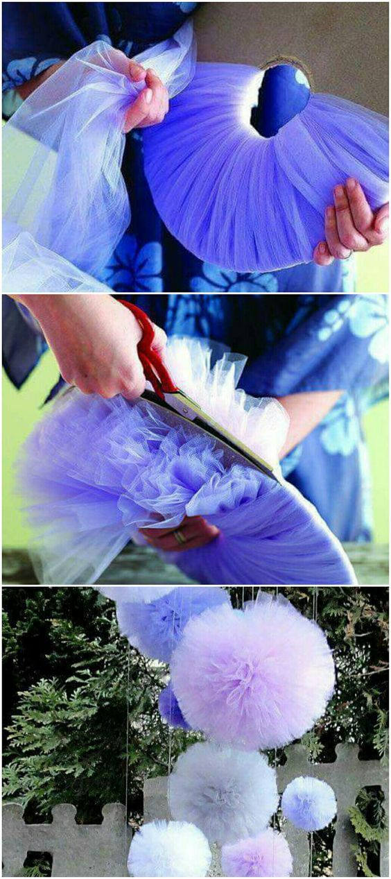 como hacer pompones de tul de colores