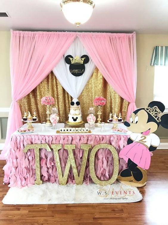 fiesta de minnie mouse rosa con dorado
