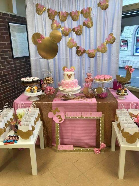 Fiesta De Minnie Mouse Rosa Con Dorado Ideas Para Las