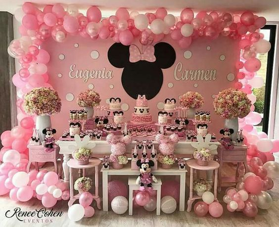 fiesta de minnie mouse rosa dulce