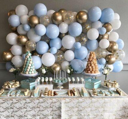 colores para decorar mesas de postres para baby shower modernos