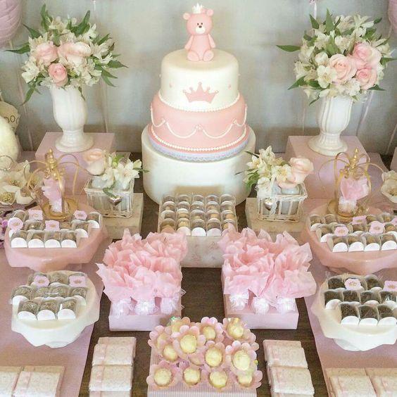 como hacer una mesa de dulces para baby shower economica