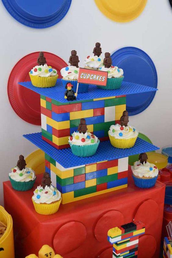 cupcakes de lego para fiestas