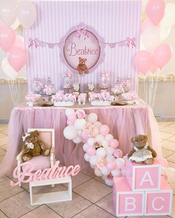 decoracion baby shower niña elegante