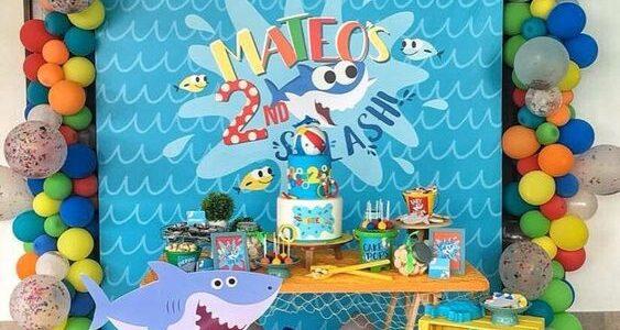 decoracion con globos baby shark