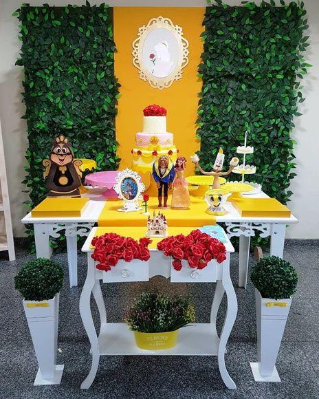 decoracion de mesa principal de la bella y la bestia