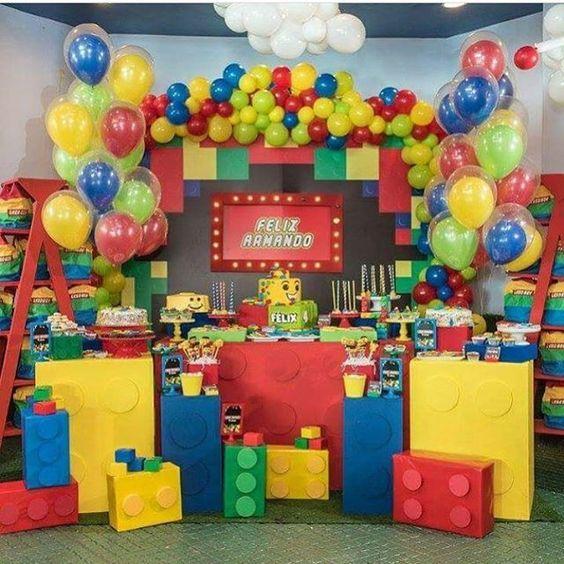 decoracion fiesta infantil de lego para niños
