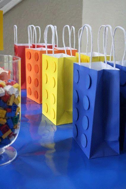 dulceros para fiesta de lego