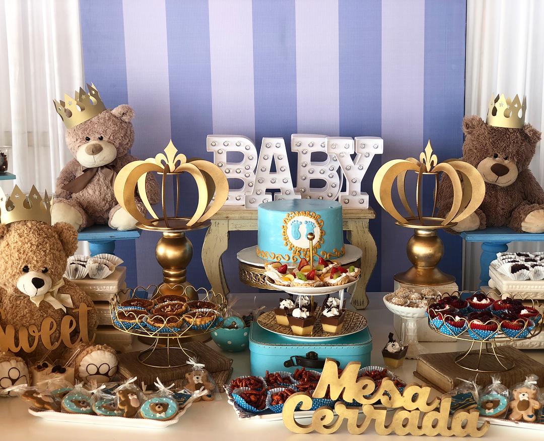 ideas para baby shower de osos mesa de postres