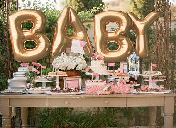 ideas para decorar un baby shower para niña con globos