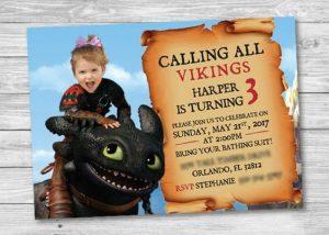 invitaciones para un cumple de como entrenar a tu dragon