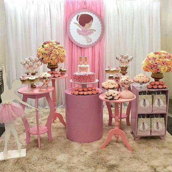 Mesa Principal De Baby Shower Nino.Mesa De Dulces Para Fiesta Infantil De Bailarinas Ballet