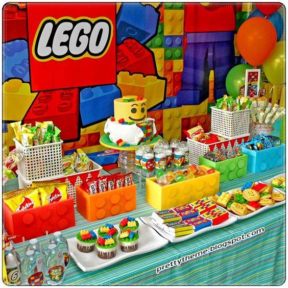 mesa de dulces tematica lego