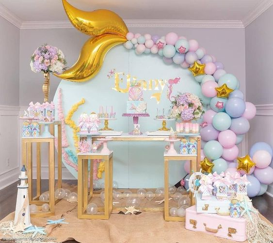 mesas de postres para baby shower modernos de niña