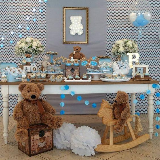 mesas de postres para baby shower modernos para niño