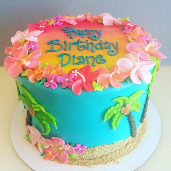pastel para Fiesta hawaiana