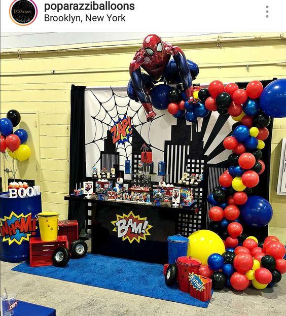 tipos de arcos de globos para fiesta de hombre araña