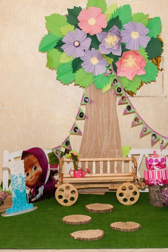 backdrops para fiesta de cumpleaños de Masha y el Oso