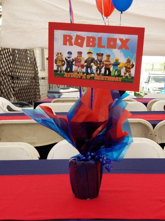 centros de mesa para fiesta tematica de roblox para niños
