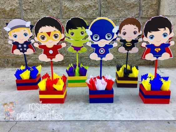 centros de mesas para fiesta infantil de super heroes