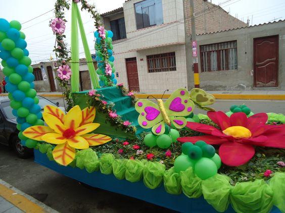 decoracion de carros alegoricos con telas para el día de la primavera