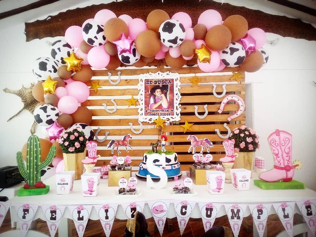 Decoracion de fiesta tema de vaquera para niña