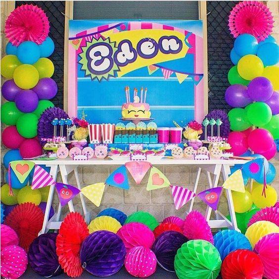 decoracion de mesa para fiesta tematica de shopkins
