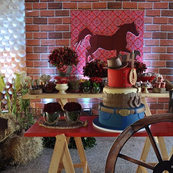 decoracion mesa del pastel 15 tema vaquera