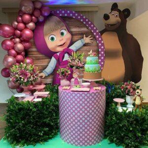 decoracion mesa principal fiesta de cumpleaños de Masha y el Oso