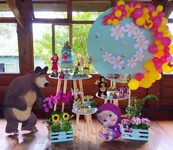 Mesa Principal De Baby Shower Nino.Decoracion Mesa Principal Fiesta De Cumpleanos De Masha Y El