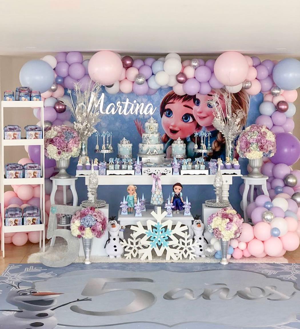 decoracion mesa principal fiesta de frozen