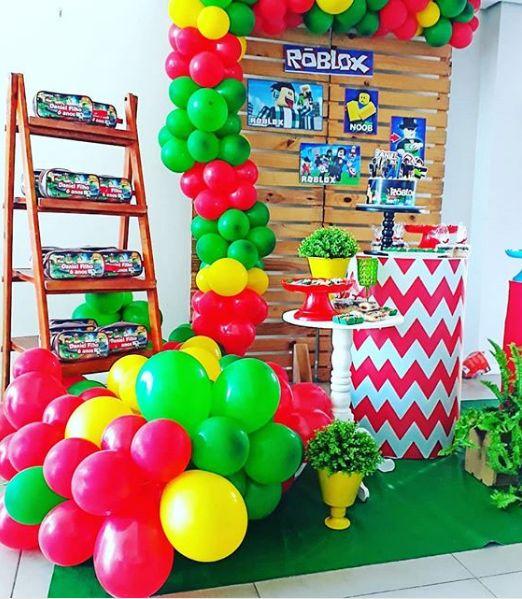 decoracion mesa principal fiesta roblox