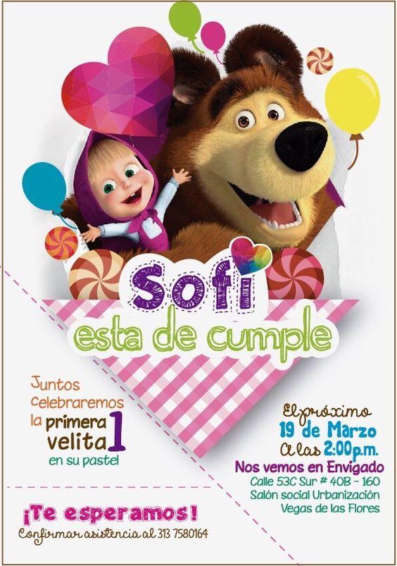 invitaciones para fiesta de cumpleaños de Masha y el Oso
