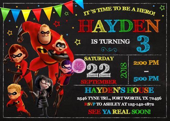 invitaciones para fiesta de cumpleaños de los Increíbles