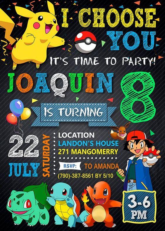 invitaciones para fiesta tematica de pokemon