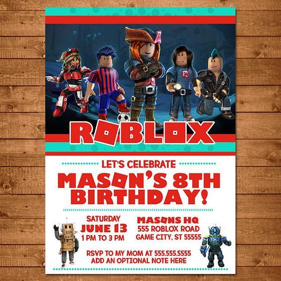 invitaciones para fiesta tematica de roblox para niños